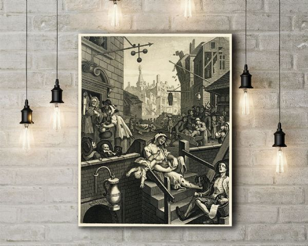 William Hogarth: Gin Lane. Fine Art Canvas.